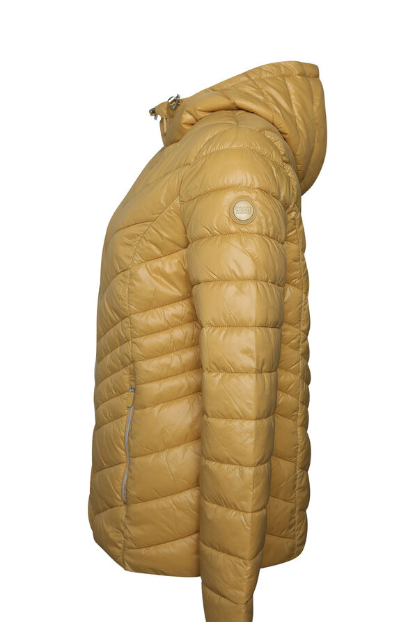 Short Ultralight Hooded Puffer Coat, Yellow, original image number 2