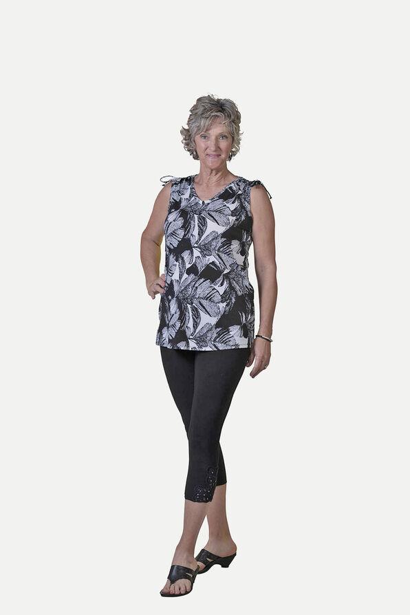 Leaf Print Sleeveless Top With Ruche Shoulders, Black, original image number 0