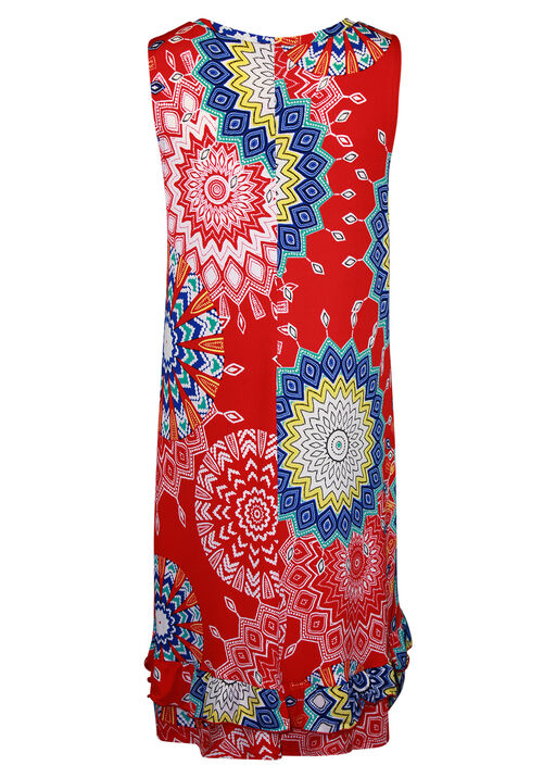 Sleeveless Medallion Print Swing Dress , Red, original