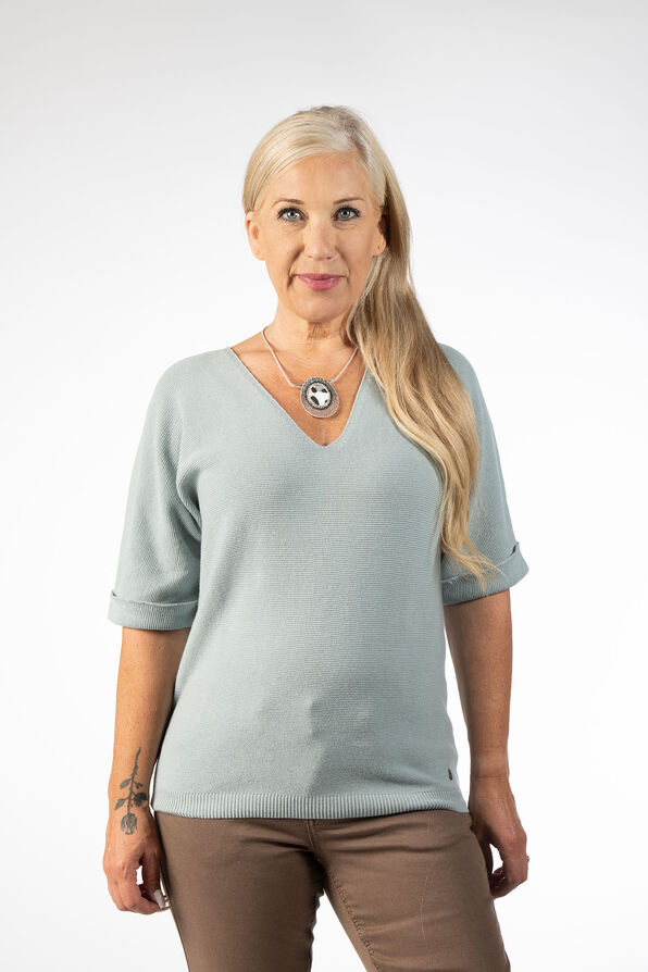 Pastel Mint Knit Sweater Shirt, Blue, original image number 1