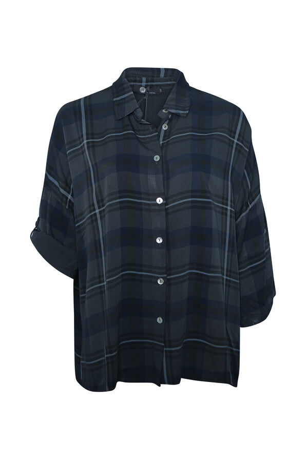 Plaid Button Up T-Shirt with Roll Tab Sleeve, , original image number 0