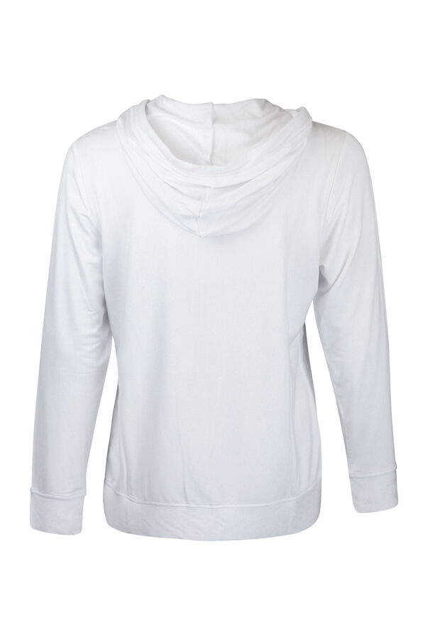 French Terry Zip Up Hoodie, White, original image number 1