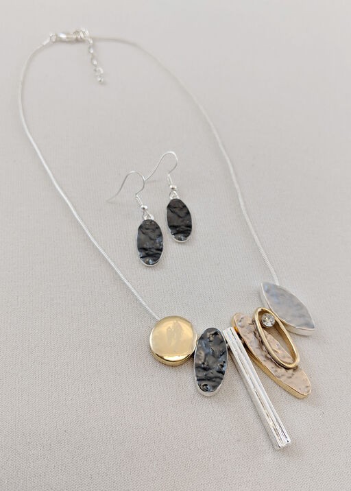 Oblong Statements Necklace and Earrings Set, , original