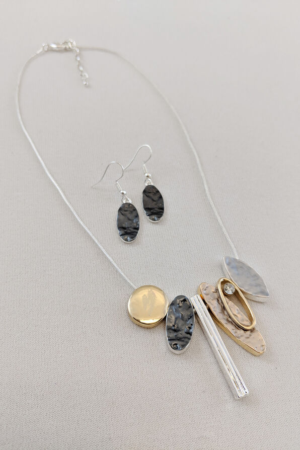 Oblong Statements Necklace and Earrings Set, Silver, original image number 0