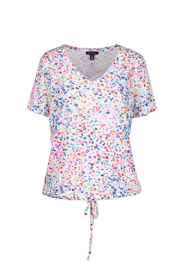 Ditzy Floral Print T-Shirt with Drawstring Waist, Multi, original image number 0