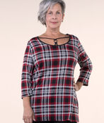 Plaid Knit Tunic , Red, original image number 0