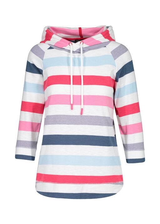 Striped Hooded 3/4 Sleeve Shirt, Multi, original