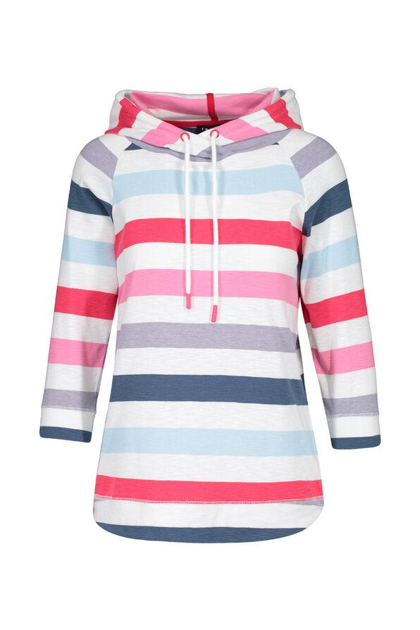 Striped Hooded 3/4 Sleeve Shirt, Multi, original image number 0