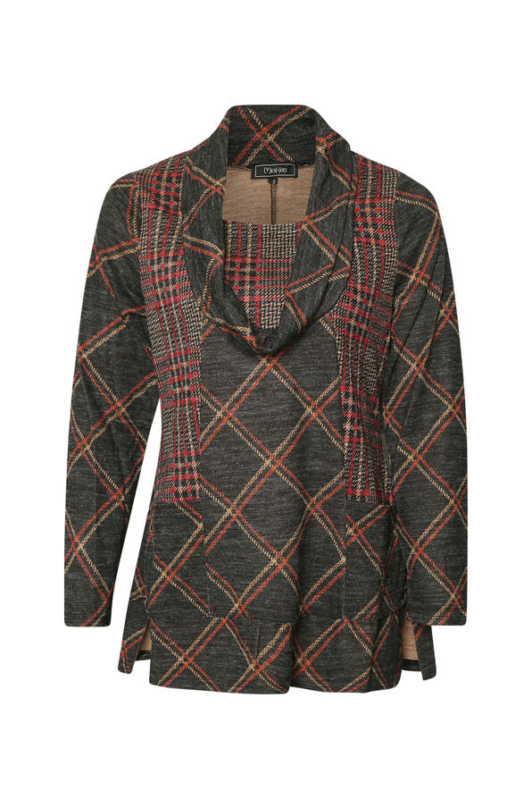 Plaid Tunic with Cowl Neck , Multi, original image number 0