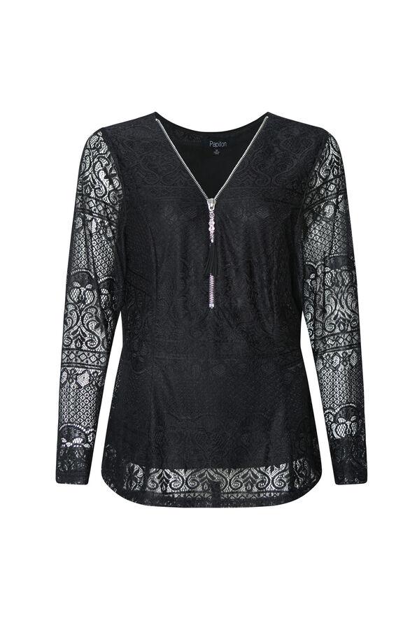 Lace Peplum Long Sleeve Top, , original image number 0
