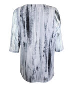 Graphite Print Mesh 3/4 Sleeve Top with Asymmetrical Hem, Grey, original image number 1