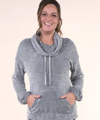 Cowl Neck Pullover with Kangaroo Pocket, , original image number 0