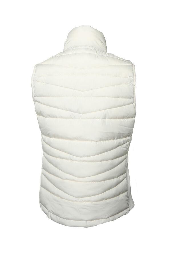 Reversible Animal Print Puffer Vest, Cream, original image number 1