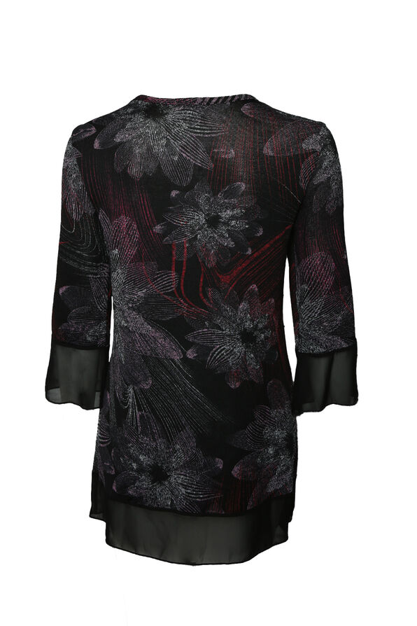Prismatic Top with 3/4 Sleeves , Black, original image number 1