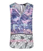 Leaf Print Sleeveless Tunic, Pink, original image number 0