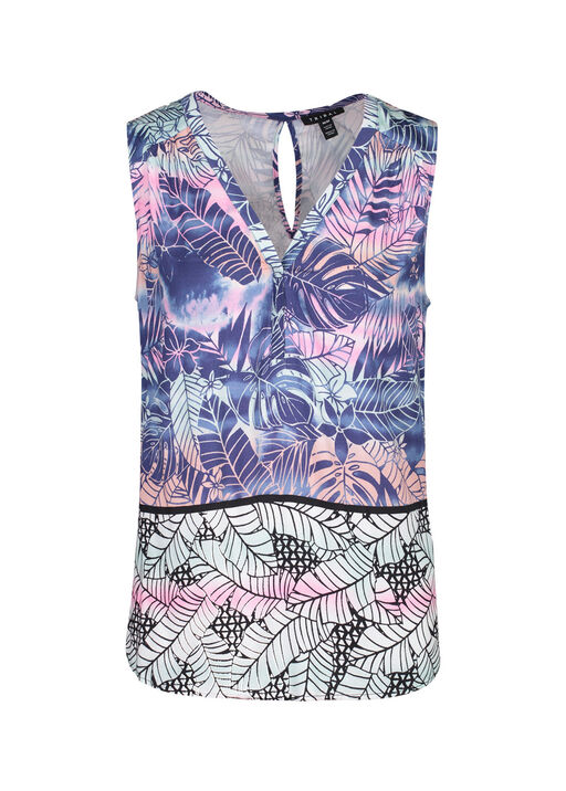 Leaf Print Sleeveless Dress , Pink, original