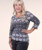 Burnout Crinkle Print Top, Grey, original image number 0