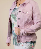 Scalloped Edge Jean Jacket, Pink, original image number 2