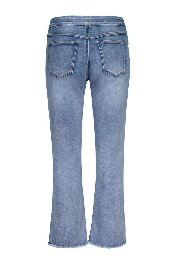 Embellished Cut-Off Cropped Wide Leg Jean, Blue, original image number 3