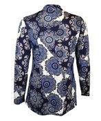 Mandala Print V Neck Long Sleeve, Blue, original image number 1