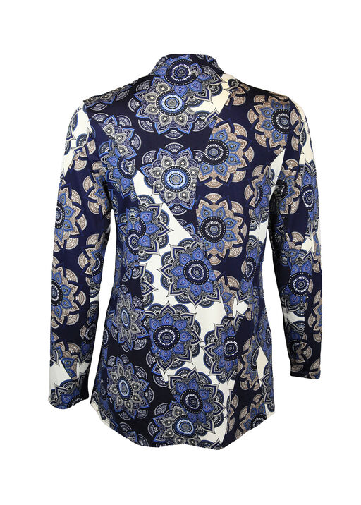 Mandala Print V Neck Long Sleeve, Blue, original