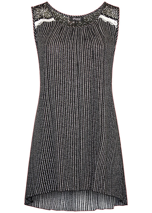 Striped Sleeveless Top with Polka Dot Chiffon Shoulder, Black, original