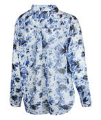 Floral Chiffon Blouse with Hidden Button Front, Navy, original image number 1