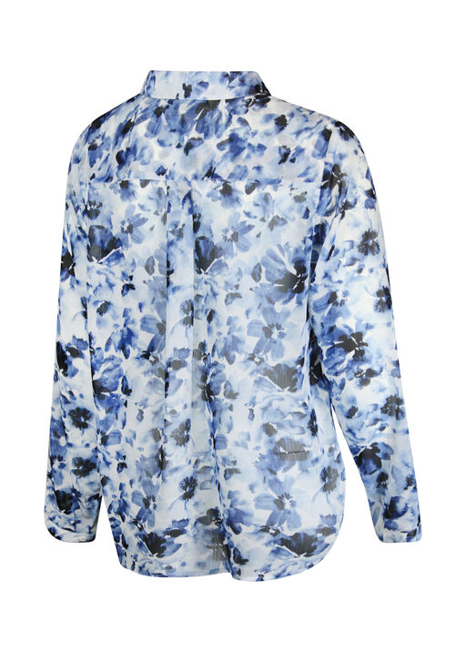 Floral Chiffon Blouse with Hidden Button Front, Navy, original
