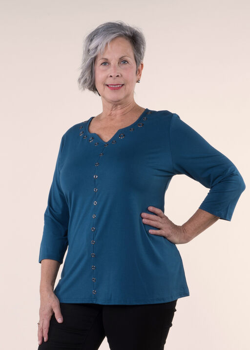 Bamboo A-Line top with Grommets, Teal, original
