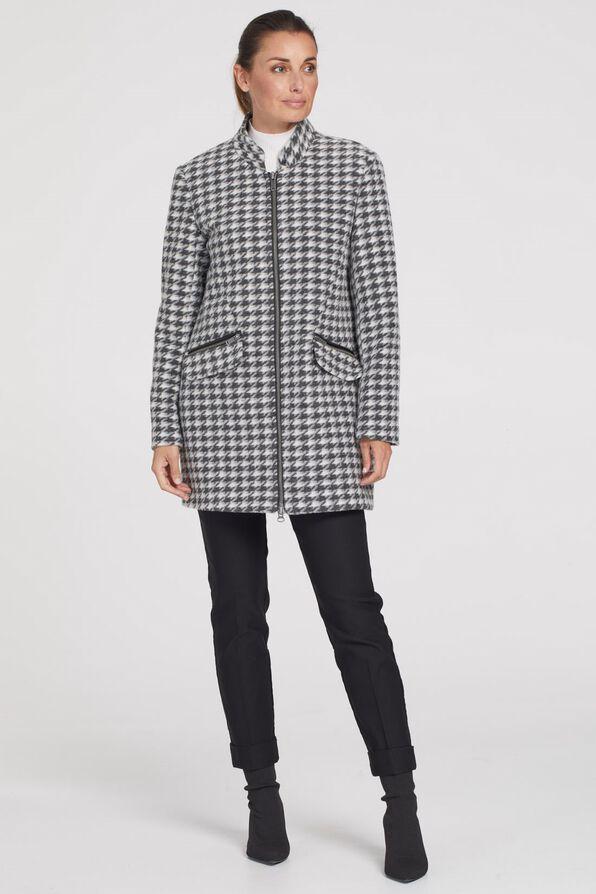 Sleek Houndstooth Jacket, Black, original image number 4
