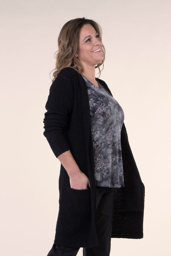 Beautiful Boucle Knit Cardigan, Black, original image number 1