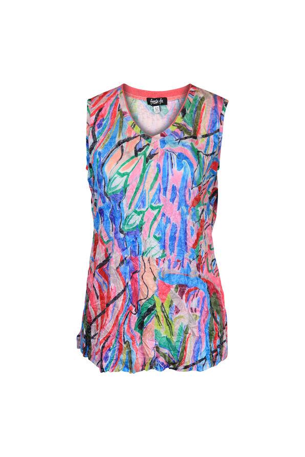 Crinkle Fabric V-Neck Tank Top, Pink, original image number 0
