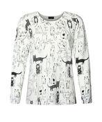 Rhinestone Cat Sweater, White, original image number 0