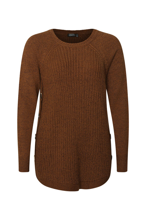 Side Button Cable Knit Sweater, , original image number 2
