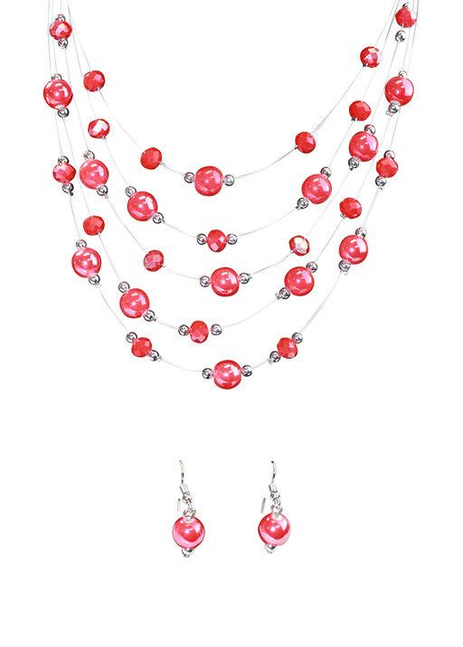 Multi-Strand Beaded Necklace Earring Set, Red, original