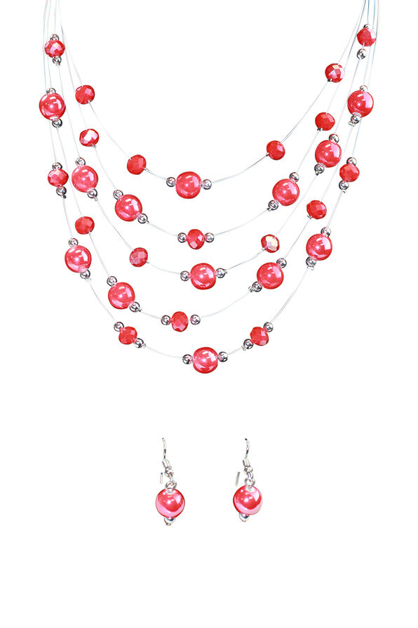 Multi-Strand Beaded Necklace Earring Set, Red, original image number 0