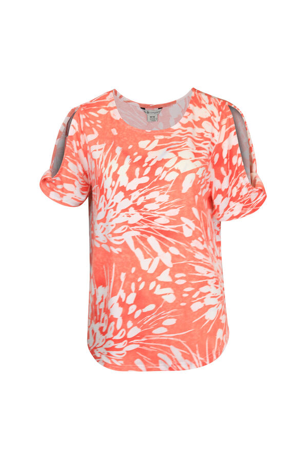 Printed Short Sleeve Top with Slit and Twist, , original image number 1