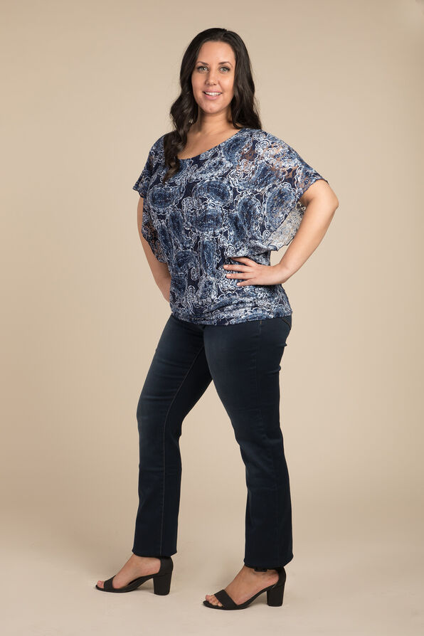 Lace and Paisley Top, Navy, original image number 2