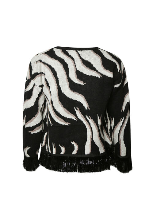 Zebra Print Knit Jacket with Fringe, Black, original