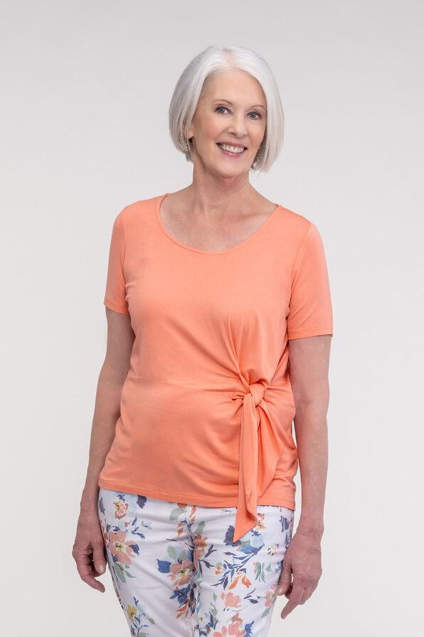 Front Tie Round Neck T-Shirt, Coral, original image number 0