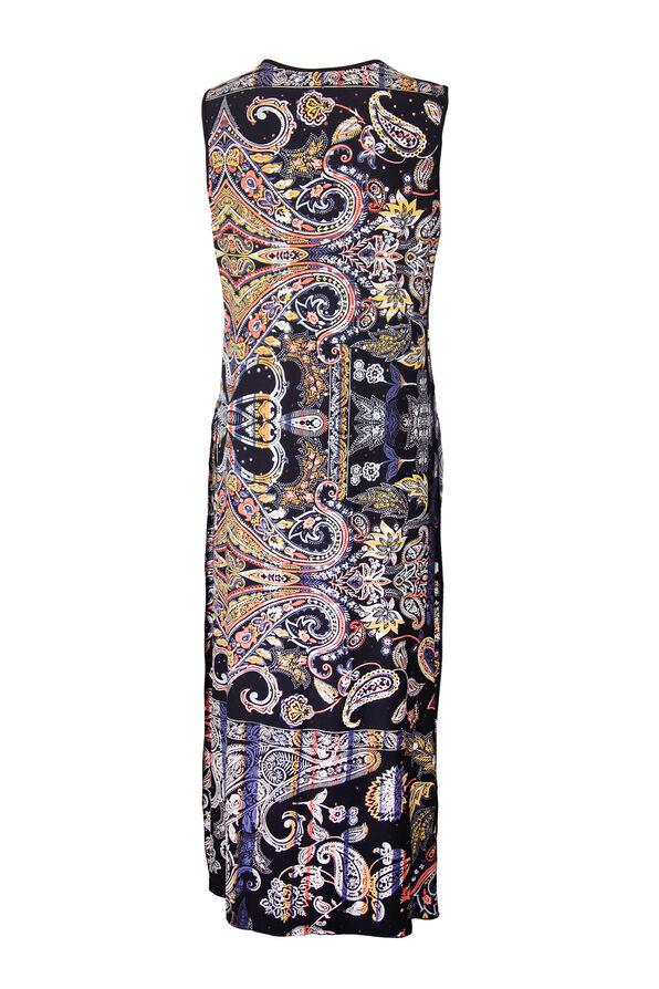 Printed Overlay Sleeveless Mid Dress, Black, original image number 1