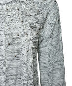 Pearl Dusted Cable Knit Sweater, Black, original image number 2