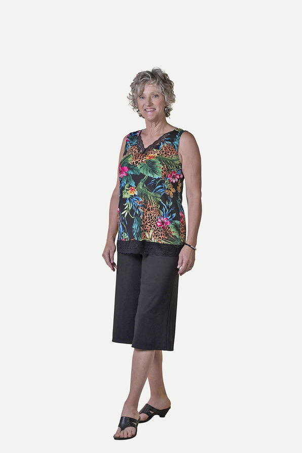 Sleeveless Animal Print Top with Lace Trim, Multi, original image number 0
