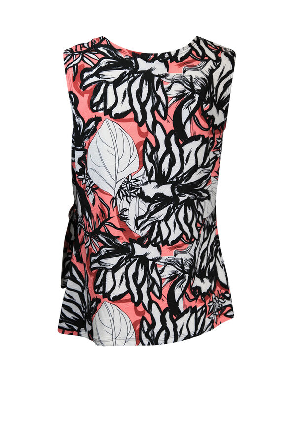 Sleeveless Faux Wrap Top with Asymmetrical Hem, Coral, original image number 1