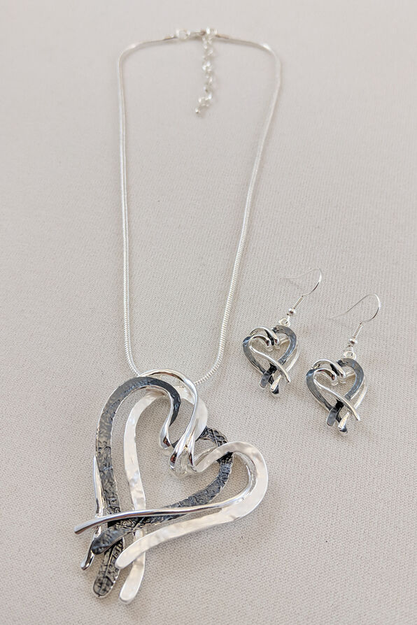 Intertwined Hearts Necklace and Earrings Set, Silver, original image number 0