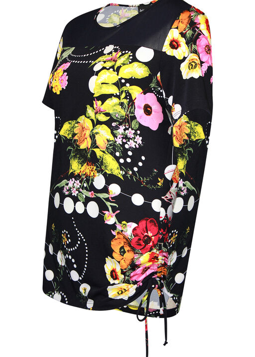 Floral Print Short Sleeve Top with Side Tie, Navy, original