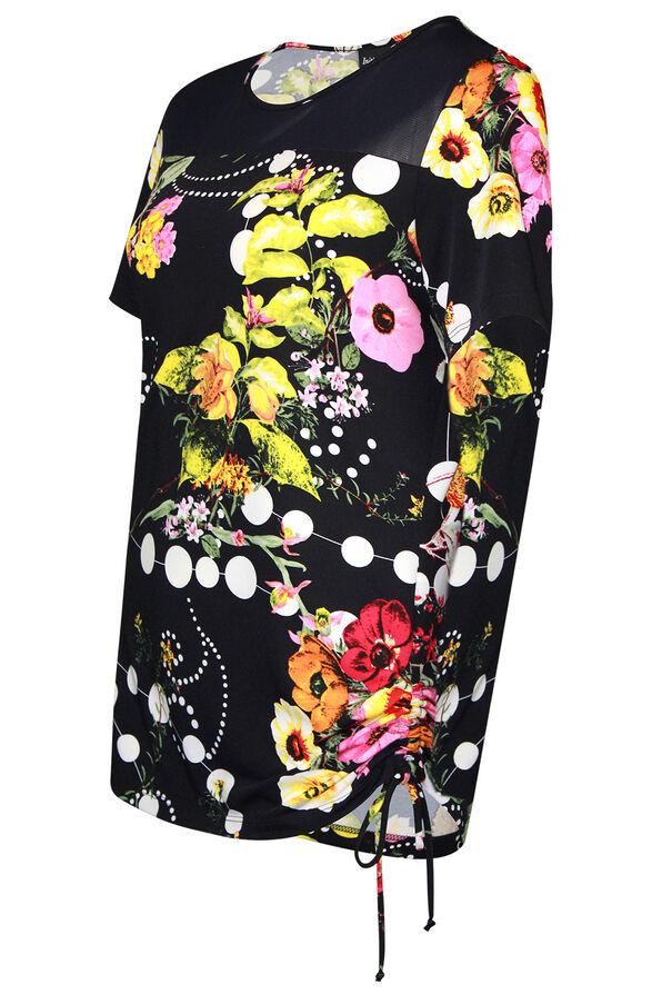 Floral Print Short Sleeve Top with Side Tie, Navy, original image number 0