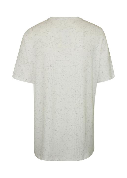 Short Sleeve Ribbed Knit V-Neck Shirt, Ivory, original