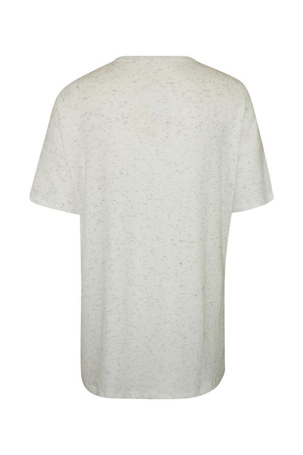 Short Sleeve Ribbed Knit V-Neck Shirt, Ivory, original image number 1