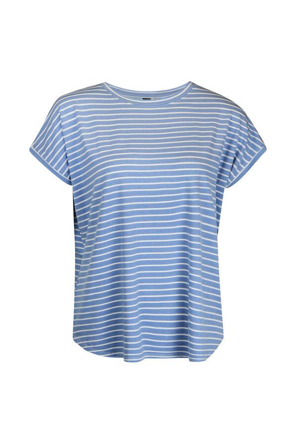 Cap Sleeve Stripe T-Shirt, , original image number 0